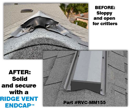 Ridge Vent Endcap Kritter Cap Stop Mice In The Attic
